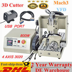 VFD 4 Axis 3020 CNC Router Engraver Drilling Cutter Engraving Carving USB 800W