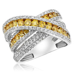 18k White Gold Natural Fancy Yellow Diamond X Crossover Wide Trinity Ring