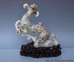 China Folk Natural Old White Jade Nephrite Carving Dynasty Goat Sheep Statue