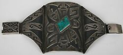 Old Sterling And Turquoise Massive Mexican Silver Cuff Bracelet Ketoh Style Huge