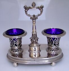 Double Salt Dish Stand Houzet 1812 Paris 950 French Sterling