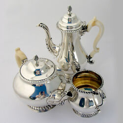 Antique Coffee And Tea Set Sterling Silver 1870