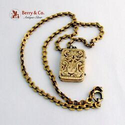 Antique 14 K Gold Locket Pendant Gold Filled Chain Necklace