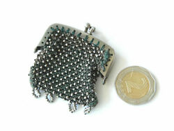 Victorian Miniature Coin Purse Marcasite Encrusted Framed Knitted Fabric