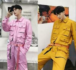 Men's Jumpsuits Long Sleeve Pants Military Overalls Multi Pockets Trousers Loose