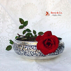 Repousse Floral Bowl Whiting 1885 Sterling Silver No Monogram