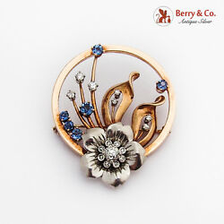 Round Floral Diamond Sapphire Brooch 14k Two Tone Gold