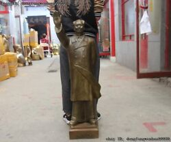 China Bronze Copper Famous Stand Mao Zedong Leader Chairman Waving Hand Statue