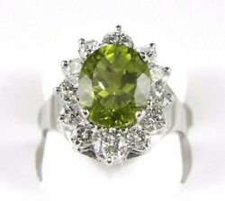 Natural Oval Green Peridot And Diamond Halo Solitaire Ring 14k White Gold 5.25ct