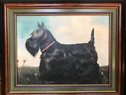 Vintage Paul Stagg Scottish Terrier Canvas Framed and Signed