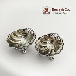 Pair Of Open Salt Dishes Shell Form 800 Silver Germany 1900