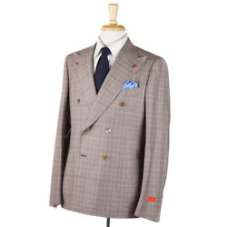 Nwt 3995 Isaia Slim-fit And039cortinaand039 Light Brown Check Wool-linen Suit 40 R