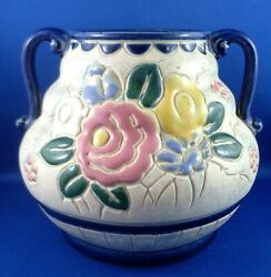 Rare Signed Antique Embossed Style Floral Pottery Urn Shaped Vase Collectable Au