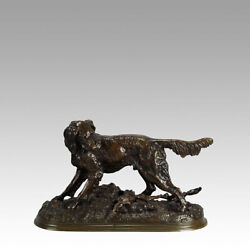 Antique French Animalier Bronze Setter And Rabbit By Jules Moigniez