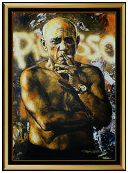 Stephen Holland Signed Hand Embellished Giclee On Canvas Pablo Picasso Large Art