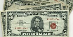 Lot Of 33 1963 5.00 United States Red Seal Legal Tender Notes