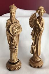 Oriental Asian Couple Statues Figurines Carved In Resin Stone