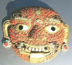 Vintage Tibetan / Nepalese Coral And Turquoise Stone Copper / Brass Bhairava Mask