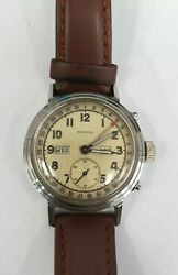 Vintage Movado Manual Hand Wind Watch Stainless Steel Month Day Date Working