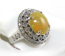 Oval Fire Opal And Diamond Halo Solitaire Ladyand039s Ring 14k White Gold 4.38ct