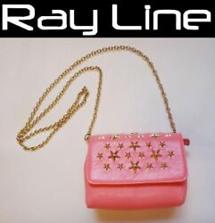 Jimmy Choo Bag Chain Shoulder Pouch Pink Leather Mint Used 100 Authentic