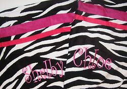 Monogrammed Beach Towel Black and White Zebra with Stripes in Pinks NEW $21.50