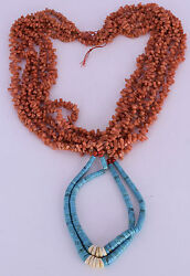 Old Native American Huge 5 Strand Coral Ceremonial Necklace W Turquoise Beads