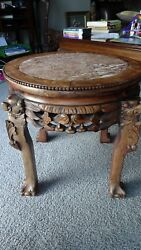 Rare  18 Carved Wood Chinese Table Plant Stand Hard Marble Top Local Pick Up