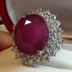 Big 22.80 Ct Natural Translucent Blood Pink Ruby Ring 925 Silver.size 6.75,