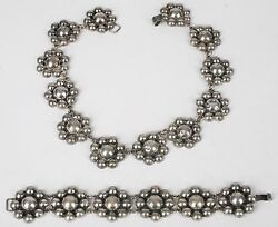 Old Flower Sterling Necklace And Link Bracelet Set Mexico, Mexican Silver, 1950's
