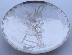 Howard Sice Hopi Etched Sterling Silver Dancing Native American Girl Round Plate