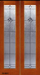 1 - Set Leaded Glass Solid Wood Interior Doors For 36 - 40w X 82 Wall Opening