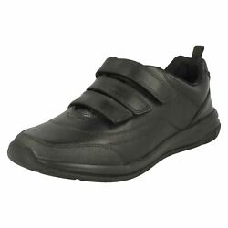 Sale Boys Clarks Hula Thrill Black Leather Rip Tape School Shoes