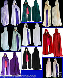 HALLOWEEN BLACK VELVET UN LINED GOTHIC CLOAK CAPE HOODED WICCA MEDIEVAL LARP SCA