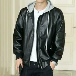 Mens Punk Casual Hood Faux Leather Jackets Coats Youth Students Loose Coats