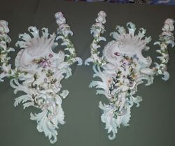 Large Old Dresden Porcelain Wall Lamps