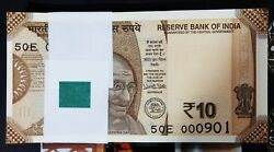 10 Rupees 100 Notes Bundle Year 2017 Fancy No 000901 To 001000. First Issue