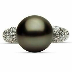 Estate .29ct Diamond And Aaa Tahitian Pearl 14kt White Gold 3 Row Pave Love Ring