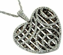 2.28ct White And Chocolate Fancy Diamond 14kt White Gold Heart Multi Row Pendant