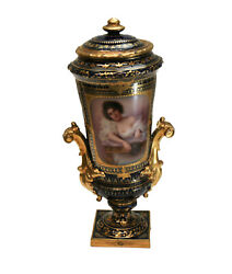 Royal Vienna Hand Painted Porcelain Double Handled Urn, Circa 1900