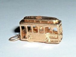Vintage 14k Yellow Gold 3d Moveable Cable Car Trolley Charm