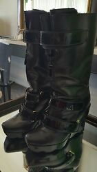 Limited Edition Louis Vuitton Winter Runway Leather Wedge Black Boots Size 9