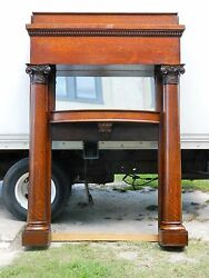 Oak Mantletiger Oak Fireplace Mantle With Full Columns And Mirror Circa1900