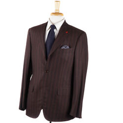 Nwt 3995 Isaia Brown Stripe 'extra Light Flannel' Wool-silk Suit 40 R Eu 50