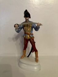 Herend Hungary Hadik Hussar With Sword Porcelain Figurine 9 1/2 Inches Tall