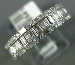 Wide .75ct Diamond 14kt White Gold 3d Round And Baguette Classic Anniversary Ring