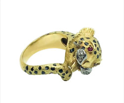 Vintage Panther Ring 18k Yellow Gold And Diamond/ruby Ring 14.1 Grams Size 7 3/4andnbsp