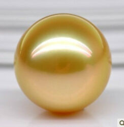 Huge 16mm Perfect Round Aaa Australian South Sea Genuine Gold Loose Pearl Undril