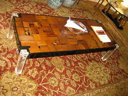 Mid Century Artist Bijan Bahar Lucite And Wood Coffee Table Great Shape