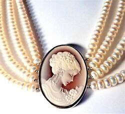 Wedding Day 4-strand Button Pearl Necklace Cameo 18-20 Sterling Silver Lqqk